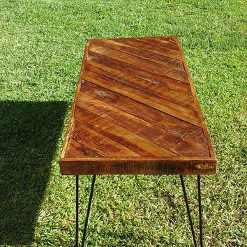 California gold:  Coffee table , Pallet wood , Reclaimed, hand crafted, wooden table, furniture , hairpin legs