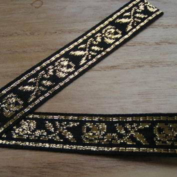 Black Jacquard Ribbon with gold lurex Roses and Leaves a most decorative ribbon trimming.