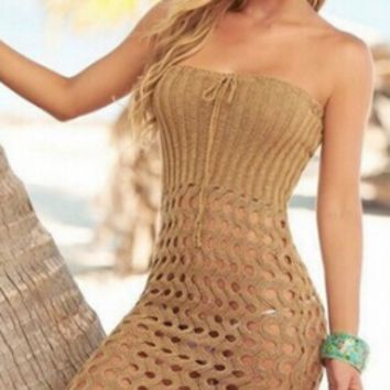 Knit Strapless Hollow Out Dress