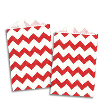 MINI Red Chevron Stripe Paper Bags