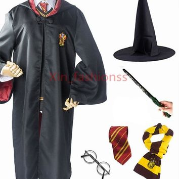 Cool Kids Adult Potter Robe Cloak with Tie Scarf Wand Glasses Ravenclaw Gryffindor Hufflepuff Slytherin for Harris Cosplay CostumeAT_93_12