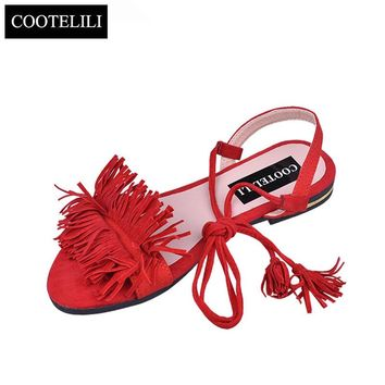 COOTELILI Shoes Woman Fashion Tassel Straps Flat Sandals For Women Flip-flops Women Summer Beach Shoes