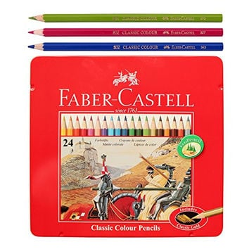 Faber Castell Classic Color Pencils Tin Case 24 Color School,Eco pencil for professionals include classic gold