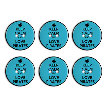 Keep Calm And Love Pirates Ship Boat Plastic Resin Button Set of 6