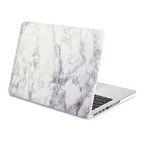 MacBook Case Frosted White Marble Hard Cover for Macbook Air Pro Retina 13 15 inch -N0018