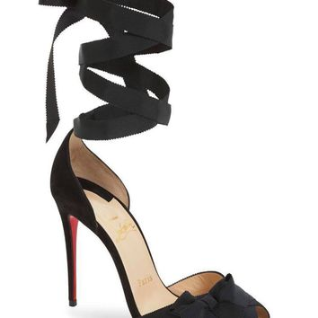 NIB Christian Louboutin Christeriva 100 Black Suede Lace Up Tie Heel Pumps 40