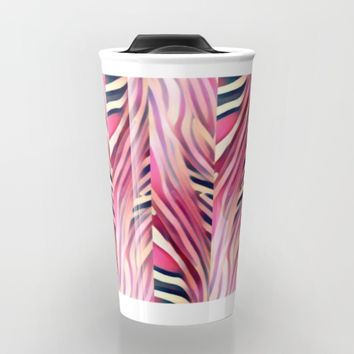 zebra pink Travel Mug by violajohnsonriley