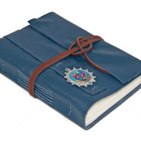 Navy Blue Leather Journal with Cameo - Ready to ship -