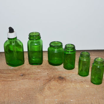 Vintage Bottles Green Glass Bottles Vintage Medicine Bottles Apothecary Jars Collection of 6 Green Glass Bottles Vases Wedding Decor