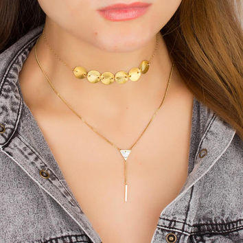 Gold Lariat Necklace • Bar Drop Necklace • Y Necklace • Dainty Bar Necklace • Triangle Necklace • Boho Lariat Necklace •  0288NM