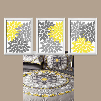 Yellow Gray Colors Flower Burst Dahlia Artwork Set of 3 Trio Prints Decor Abstract Bedroom WALL ART Bathroom