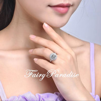 2 Ct (8 mm) Round Cut Lab Made Diamond Double Halo Engagement Ring / Promise Rings set in Pave Split Shank with gift box (FairyParadise)