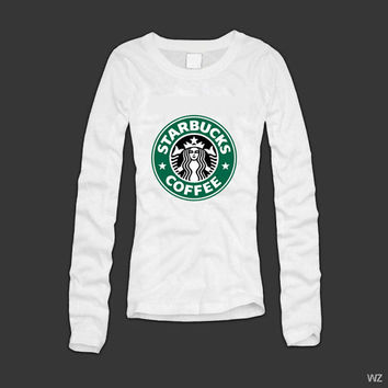 Starbucks Coffee women long Sleeved top tshirt shirt size S M L XL heat press transfer by Melissa2012us