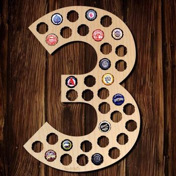 Number Three Beer Cap Map