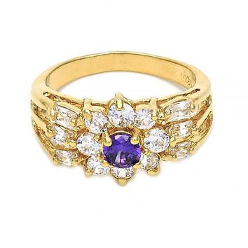 Gold Layered Multi Stone Ring, Flower and Baguette Design, with Cubic Zirconia, Golden Tone