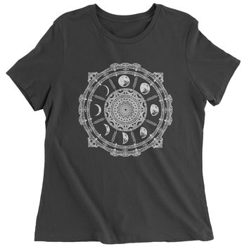 White Phases Of The Moon Compass Womens T-shirt