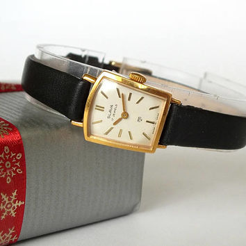 Small, elegant womans watch SLAVA (GLORY). Vintage womens watch. Rare ladies mechanical watchgold plated. Russian watch for women. Gift her.