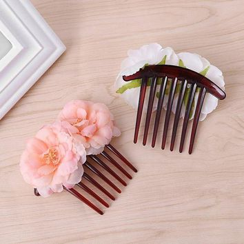 PEAP78W Double Silk Rose Flower Hair Combs Hair Clip with Wedding Bridal Party Beachy