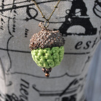 Crochet Green Acorn Necklace BronzeHandmade Jewelry Gifts Chain Pendant