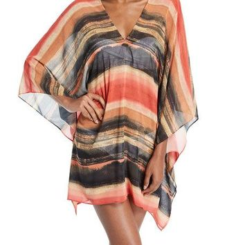 CARMEN MARC VALVO Pacific Sunset Kimono-Sleeve Chiffon Dress Metallic $125