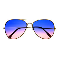Retro Vintage Fashion Two Tone Lens Gold Metal Frame Aviator Sunglasses A1820