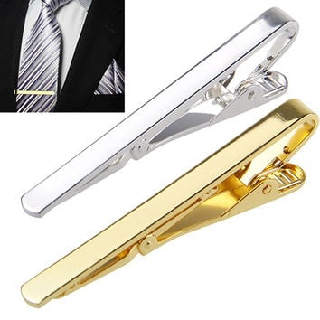 2015 Fashion Metal Silver Gold Simple Necktie Tie Bar Clasp Clip Clamp Pin for men gift 6X8L
