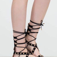Go Girl Faux Nubuck Studded Sandals