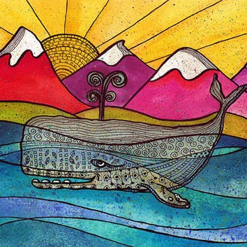 Colorful Whale swimming _ 11x14 watercolor print colorful landscape with colorful mountains whale print blue whale whale artwork sperm whale