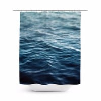 Dark Waters - Shower Curtain, 71x74 Inches, Deep Blue Ocean Water Accent Curtain