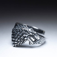 House Stark Direwolf Ring, Game of Thrones, silver, adjustable size, handmade ..... Stark Ring, Game of Thrones Ring