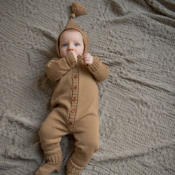 Baby overall Baby boy clothes Knit Baby overall with hood Knit baby jumpsuit Baby coming home outfit with knit hat and socks