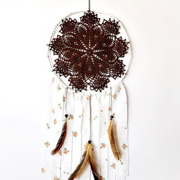 Bohemian dreamcatcher, brown, white dream catcher, crochet lace, wall hanging, bedroom decor, beaded, large, home decor, handmade, unique