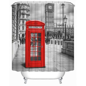 Feiqiong Brand London Big Ben Shower Curtains for living Bathroom 100% Polyester Bathing Curtain Cortinas