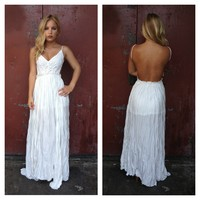White Backless Crochet Sleeveless Maxi Dress