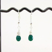 Green Onyx earrings, tiny lightweight drop earrings, wire wrapped earrings, semi precious gemstone,small dangle earrings, handmade in the UK