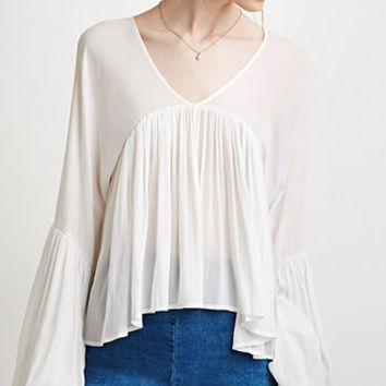 Shirred Trumpet-Sleeve Top