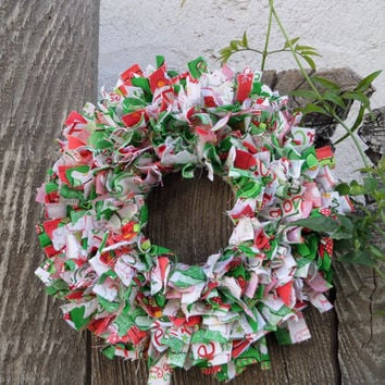 "Whimsical 6"" Christmas  Mini Rag Wreath Wall Decor OOAK"