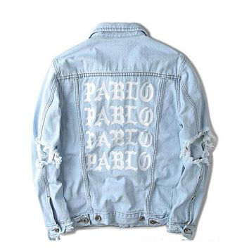 hip hop 2016 mens jackets and coats 3 brand clothing distressed jean denim jacket men clothes women 424 pablo kanye west