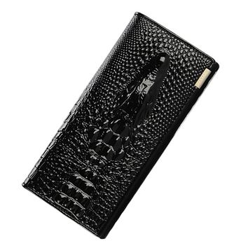 Crocodile Head Genuine Leather Wallet Women Large Compartment Leather Purse Brand Designer Female Coin Purse Card Holder