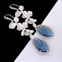 Blue Wedding Jewelry Earrings Orchid Flower Sapphire Blue CZ Pro - Vivian Feiler Designs | Wedding