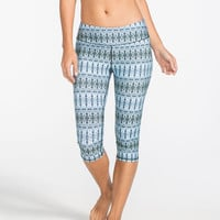 Full Tilt Sport Boho Print Womens Capri Leggings Blue Combo  In Sizes