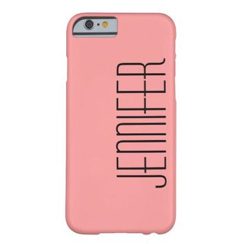 iPhone 6 Case, Coral and Black, Personalized Barely There iPhone 6 Case