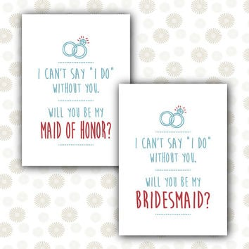Will You Be My Bridesmaid Maid of Honor card Bridal Shower / INSTANT DOWNLOAD printable pdf / Wedding Party girl ask Honour alternative idea