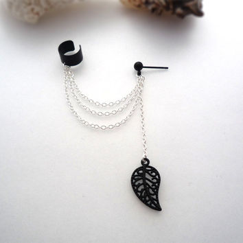 Powder Coated Black Matte Filigree Leaf Ear Cuff With Chains - Unique