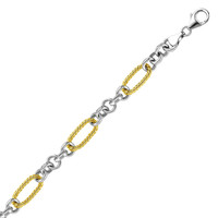 Sterling Silver & 14K Yellow Rope Link Accent Bracelet