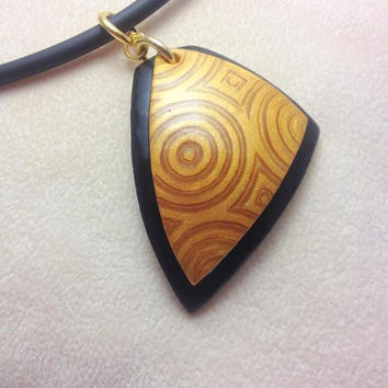 Gold and Black Pendant, Triangular Pendant, Abstract Art Necklace, Polymer Clay Jewelry, Polymer Clay Art, Gifts for Women, JosCreationsGR