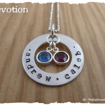 Personalized Hand Stamped Necklace - Gift for Mom - Gift for Grandma - Gift for mother - New mom - add names - custom and handmade Jewelry