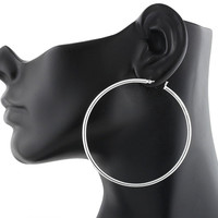 Sterling Silver Hoop Earrings 2.75Inch