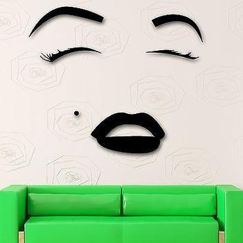 Wall Sticker Vinyl Decal Hot Sexy Girl Eyes Lips Beauty Salon Makeup Unique Gift (ig2057)