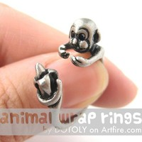Realistic Monkey Animal Wrap Around Hug Ring in Silver - Sizes 4 to 9
